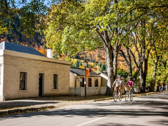 Biking through historic Arrowtown
