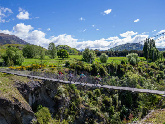 mtb riding over the many bridges along the queenstown trail