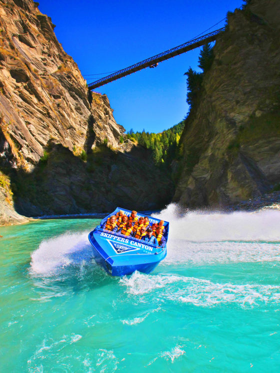 Jet boating below skippers Canyon Bridge, Queenstown